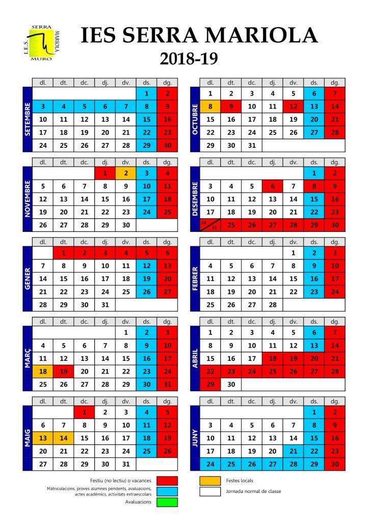 Calendario Escolar 2020 2020 Comunidad Valenciana.Calendario Escolar Ies Serra Mariola