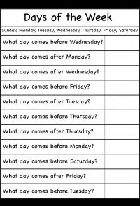 Actividad 1. Ficha 1 días de la semana