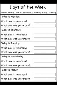 Actividad 1. Ficha 4 días de la semana
