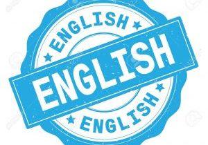 ENGLISH text, written on cyan, lacey border, round vintage textured badge stamp.