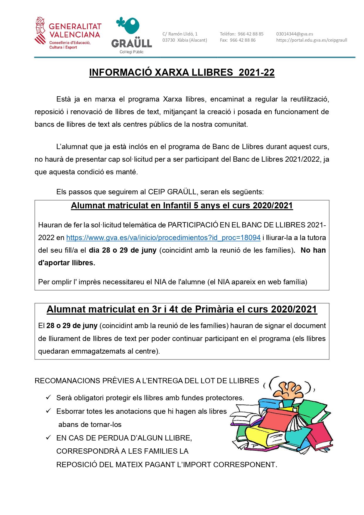 CIRCULAR INFORMATIVA BANC DE LLIBRES 21-22