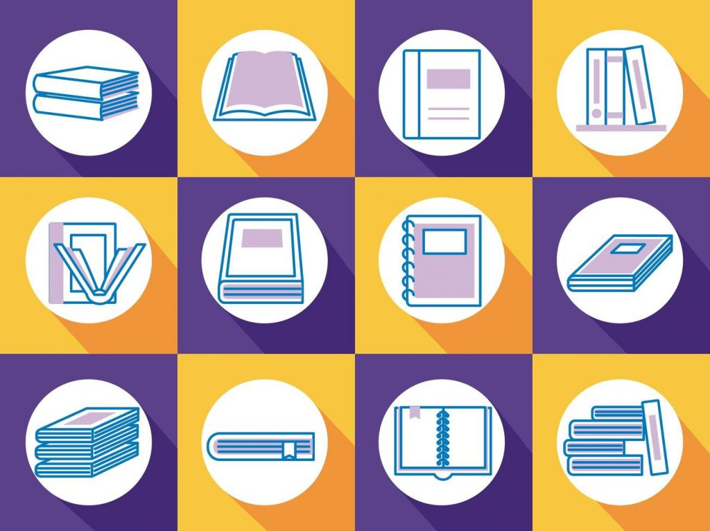 bundle-of-text-books-line-style-icons-free-vector