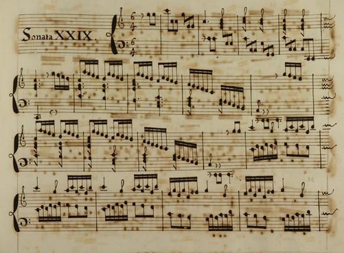 Inici de la Sonata XXIX, Biblioteca de l'Orfeó Català. Barcelona