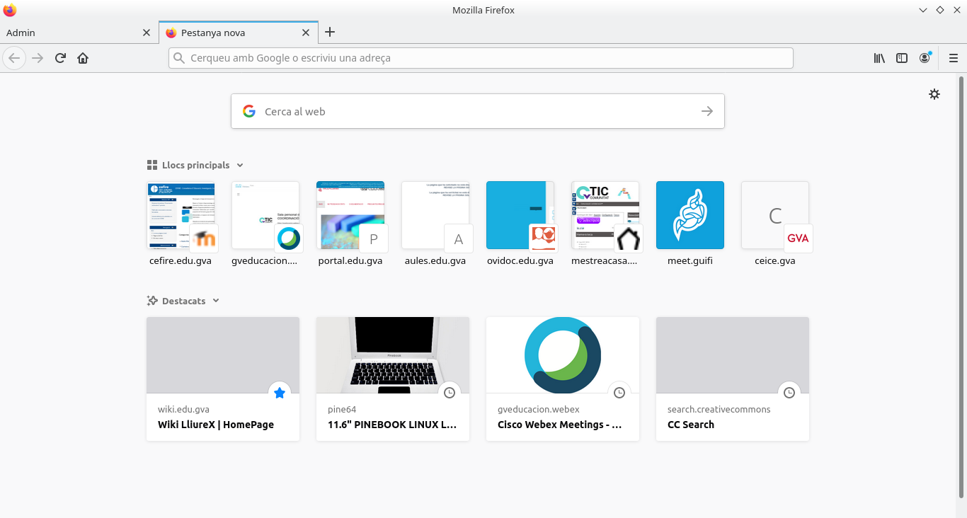 Firefox. Començant a navegar des d'una nova pestanya