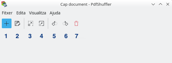 PDFShuffer. Menús i opcions