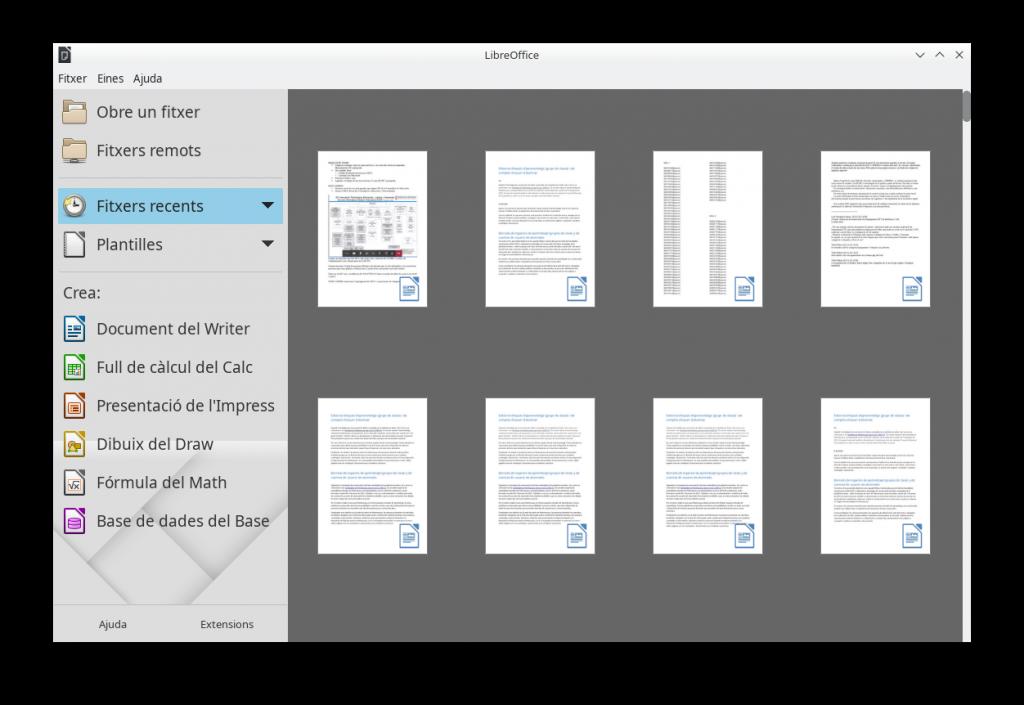 LibreOffice. Centro de control