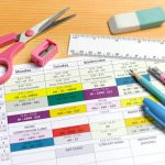 close up of weekly school timetable