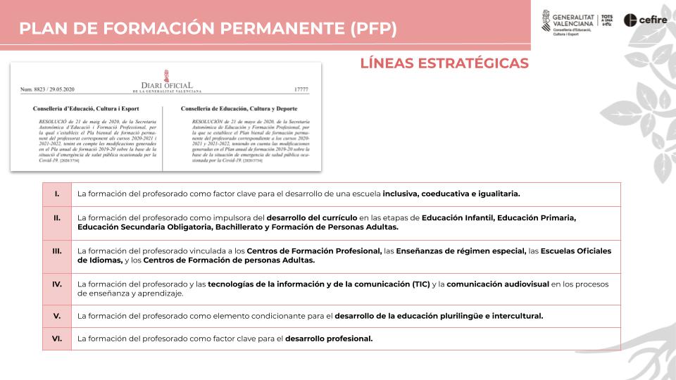PFP - Lineas estratégicas