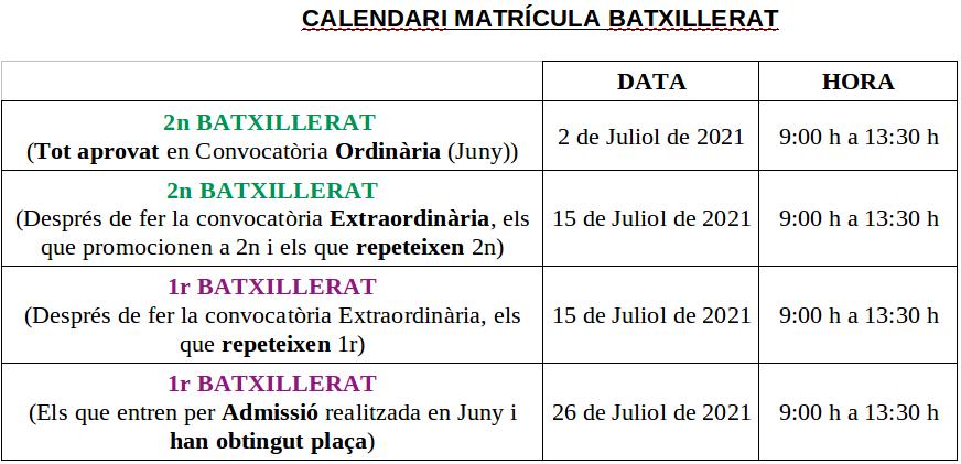 Calendari Matricula ESO-BAT