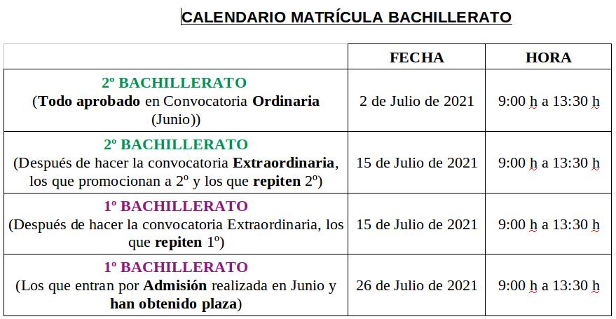 Calendario Matricula ESO-BAT