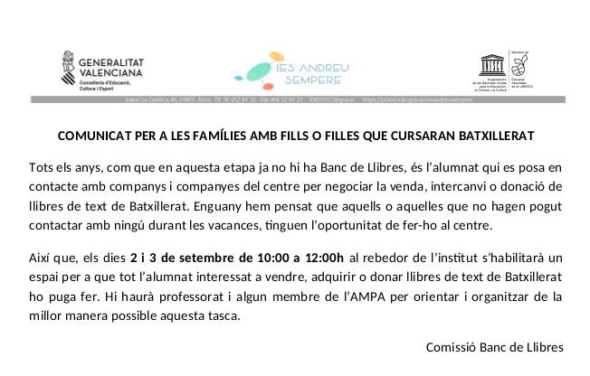 comunicatBancLlibres