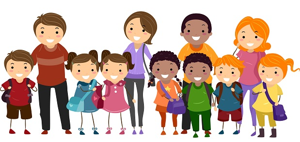 Illustration of School Kids Neatly Lined Up in One Row Together with Their Parents
