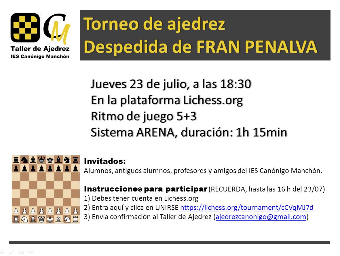 Torneig d'Escacs - Comiat de Fran Penalva