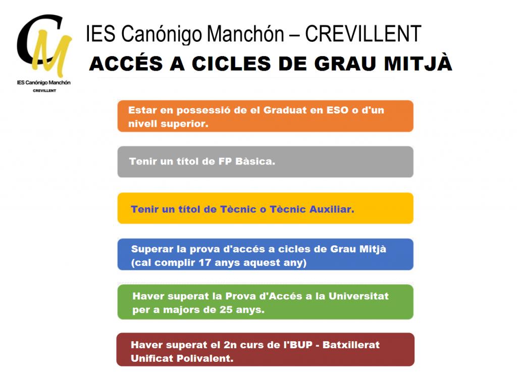 Requisitos de acceso IES Canónigo Manchón - Valenciano