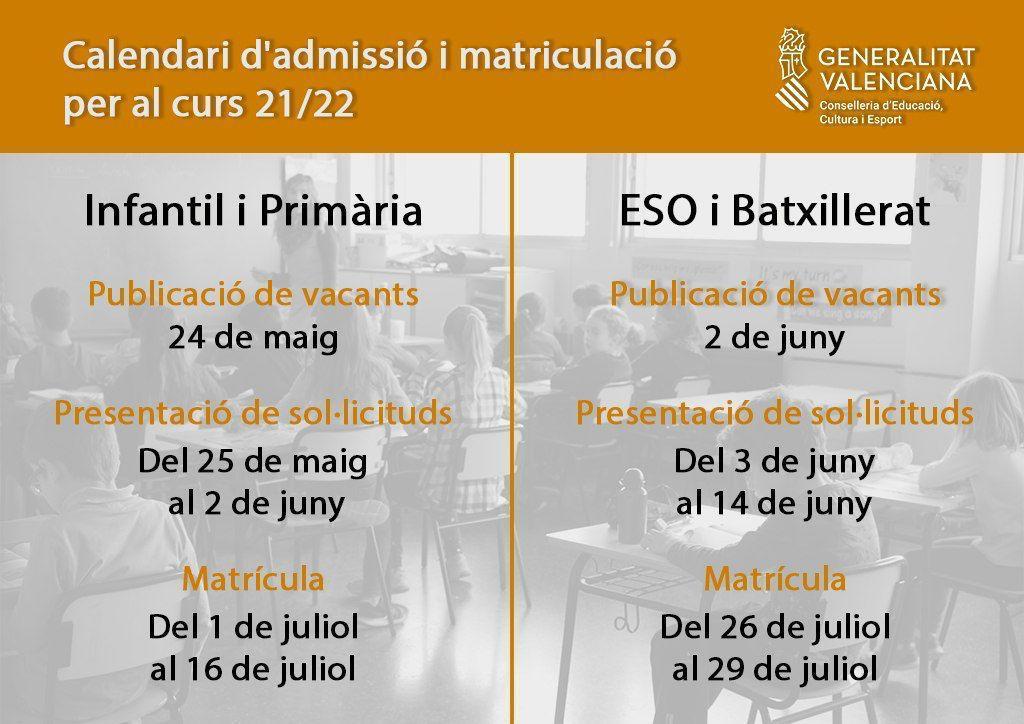 Calendari admissió 21-22