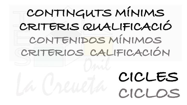CONTINGUTS MÍNIMS CICLES
