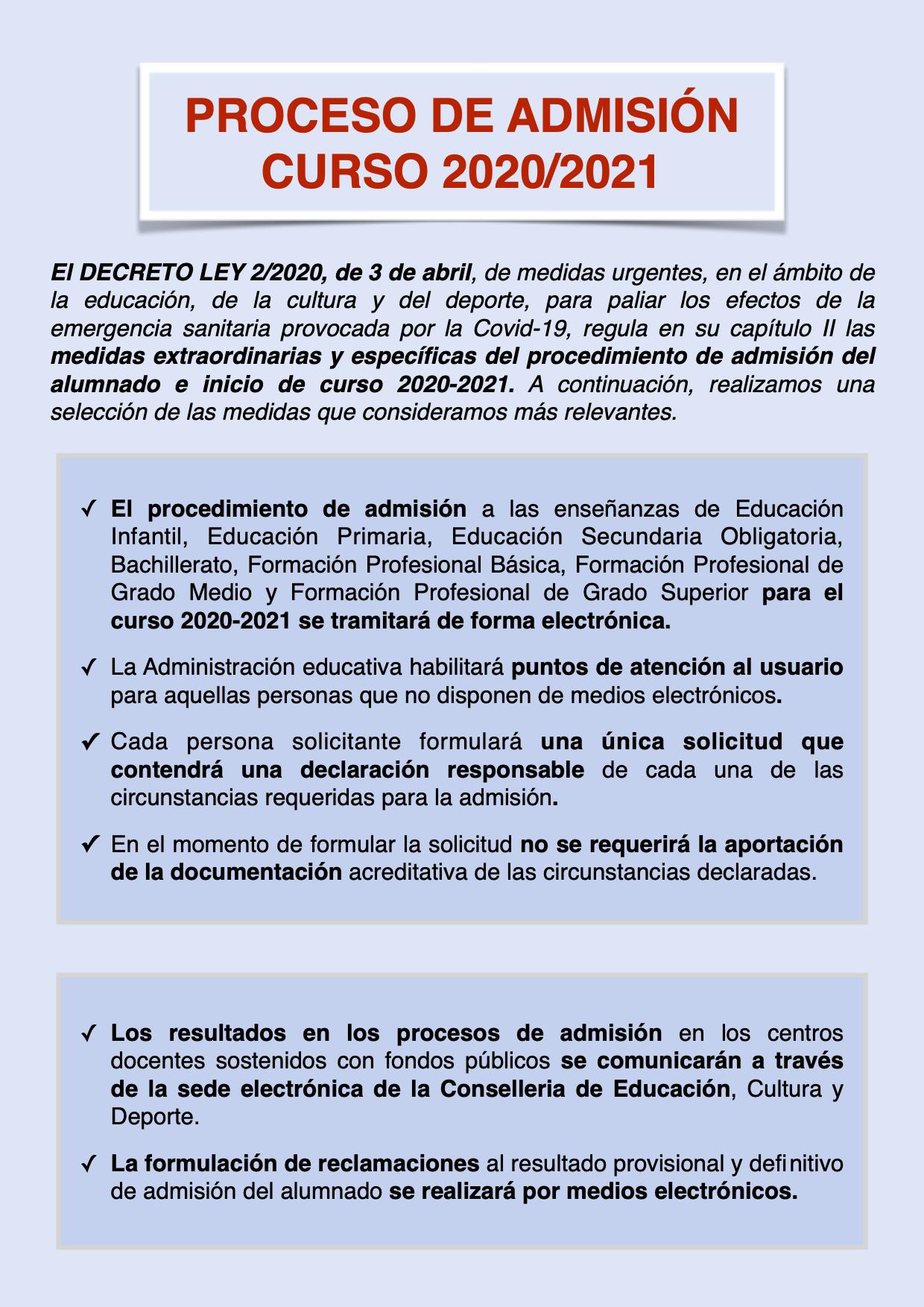 PROCESO DE ADMISIÓN 2020:2021