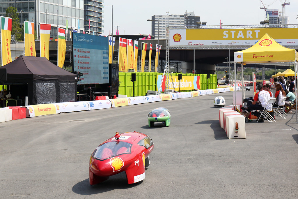Team ecologico-marxadella, race number 48, from I.E.S. La Marxadella, Spain, competing in the Prototype - Gasoline category compete on day one of Make the Future Live 2018 at the Queen Elizabeth Olympic Park on Thursday, July 5, 2018, in London. (Jonathan Browning/AP Images for Shell)