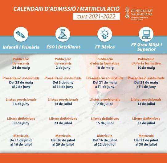 CALENDARI-ADMISSI-I-MATRICULACI-CURS-2021-2022
