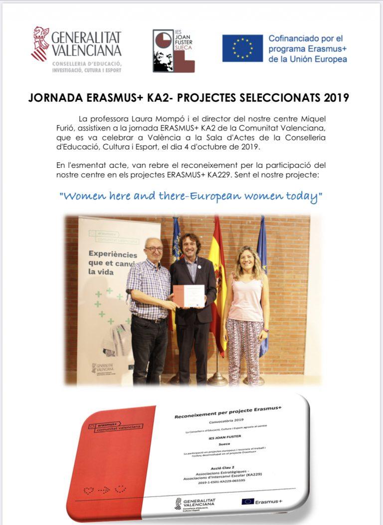 Reconeixement de l'IES JOAN FUSTER com a centre seleccionat per al programa Erasmus+ KA2
