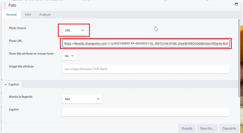 Editor visual URL sharepoint 1