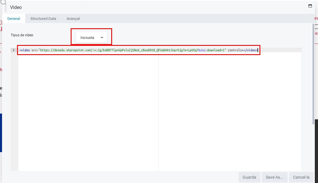 Beaver inserir video tag i URL sharepoint