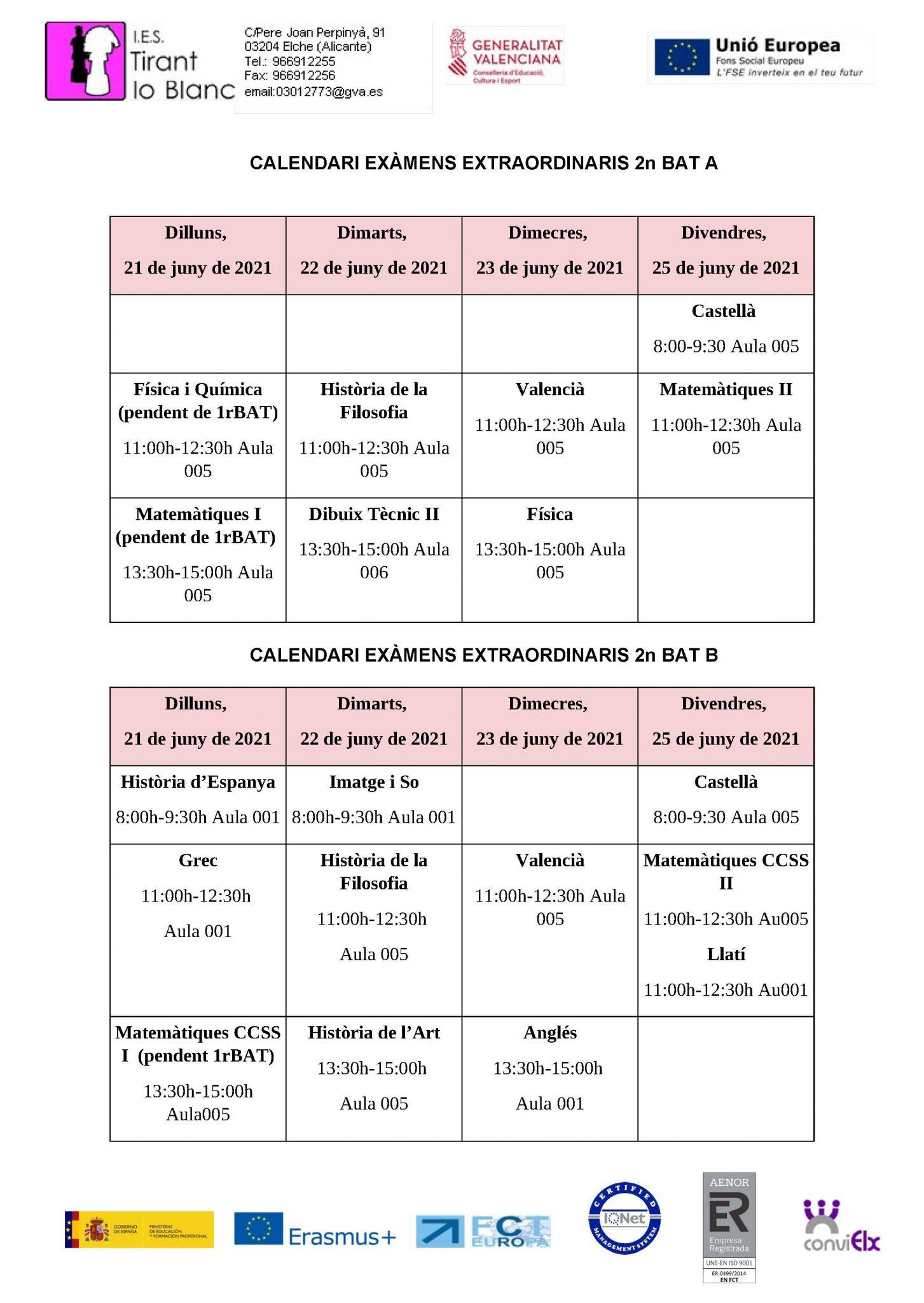 calendari exàmens extraordinaris 2nbat