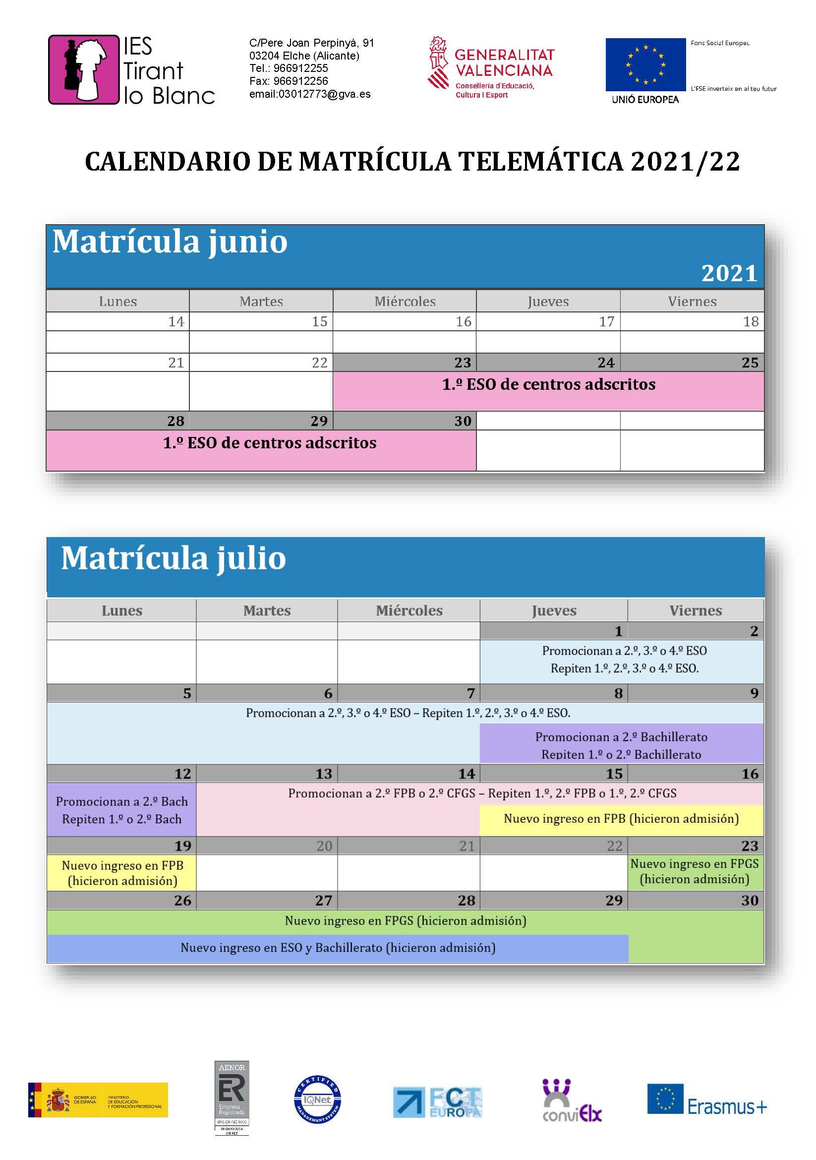 CALENDARIOS MATRICULA TELEMATICA 2021-22