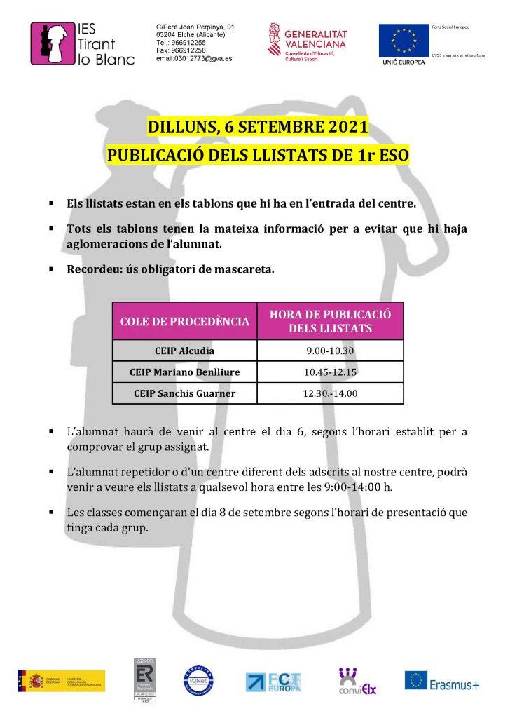 HORARIOS LISTADOS 1ESO 2021-2022